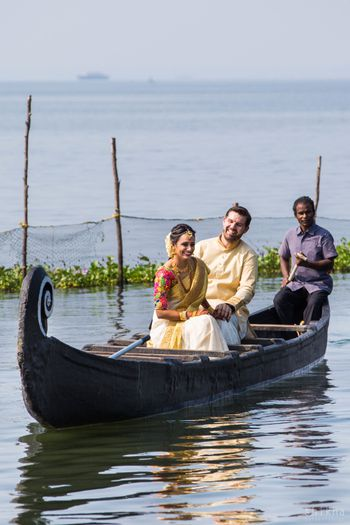 Kerala wedding idea couple entering in boat