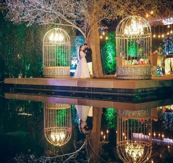 Birdcage engagement decor