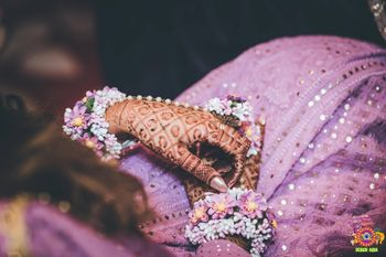 Floral haathphool mehendi jewellery in lilac