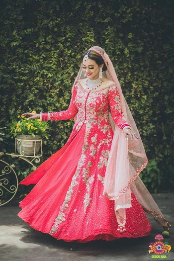 Red Anarkali lehenga for Sikh bride