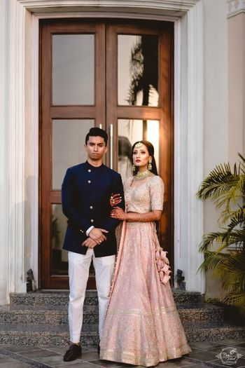 Light pink engagement lehenga with tassels