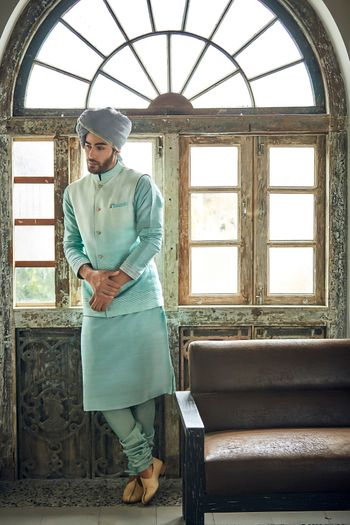Light blue kurta with ombre jacket
