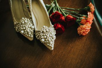 Embellished bridal shoes