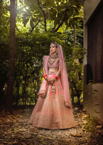 Photo of Ombre light pink lehenga with unique shades