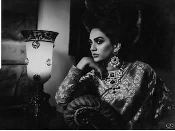 Timeless bridal portrait in black and white with bride in saree