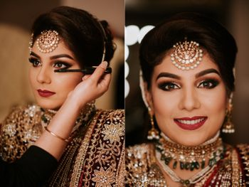 Bridal makeup with smokey eyes and red lips