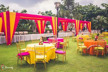Bright pink and yellow theme outdoor setting