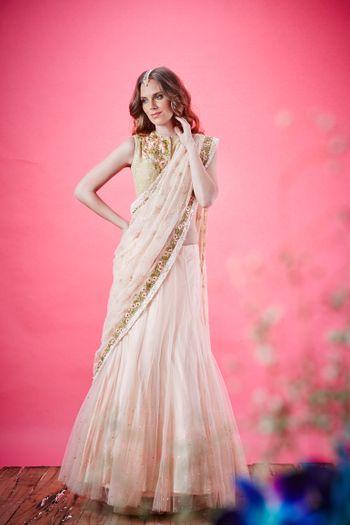tiered saree