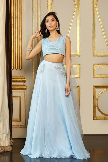 Powder blue lehenga for engagement
