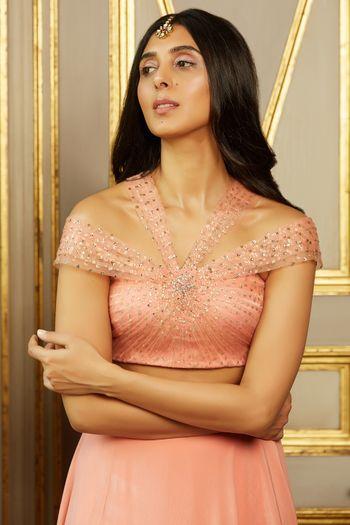 Engagement or sangeet lehenga with unique blouse