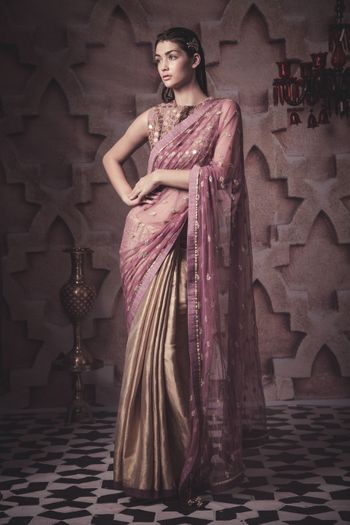 Photo of gold and lavender saree