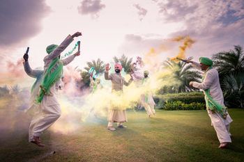 Groom with groomsmen and holi colours