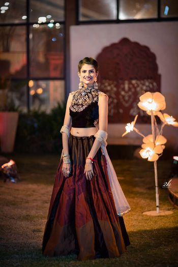Deep maroon lehenga for sangeet or cocktail