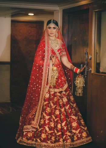 Red sabysachi bridal lehenga with embroidery