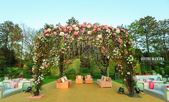 Floral mandap with enchanted forest theme