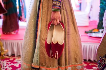 Photo of Maroon velvet groom shoes juta churai