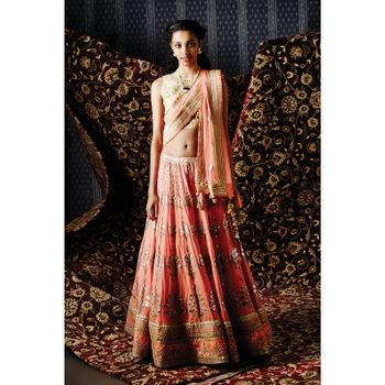 Photo of peach lehenga