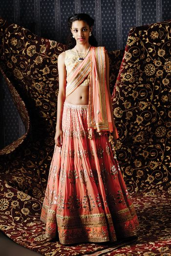 Photo of peach color lehenga