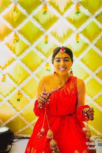 Bride on haldi photograph