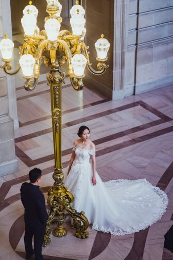 Whitewedding gown with a long train