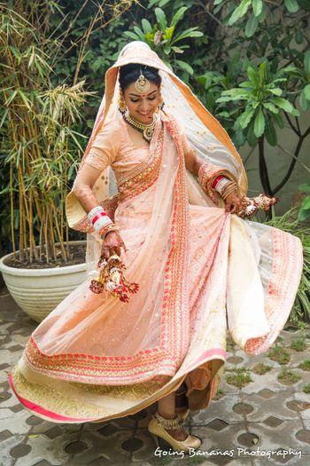 pastel peach bridal lehenga