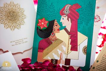 Photo of Quirky caricature wedding card idea