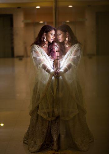 Unique bridal portrait idea with reflection shot