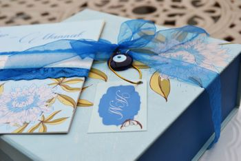 Photo of blue wedding card