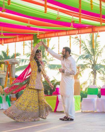 Bride and groom on mehendi day