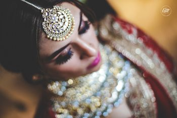 Photo of Polki bridal maangtikka close up