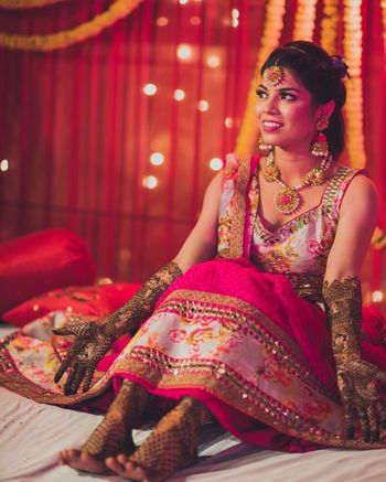 Bridal Portrait with Jali Mehendi on Hands and Feet