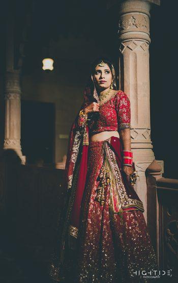 Red sequin work lehenga on night bride