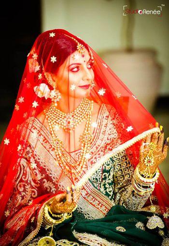 Bride in Red Veil Portrait