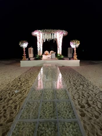 Unique floral mandap decoration for a beach wedding