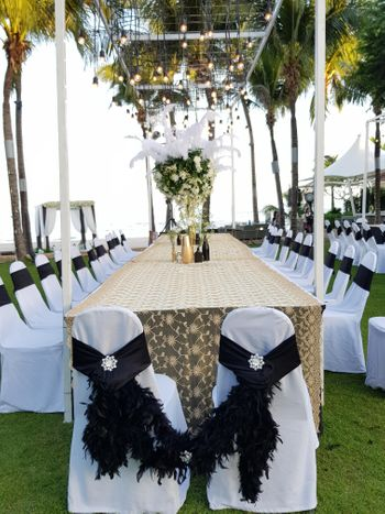 Photo of Cute feather chair tiebacks for wedding