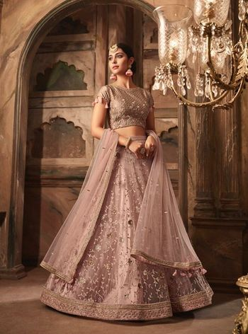 Gorgeous lilac bridal lehenga for sangeet function