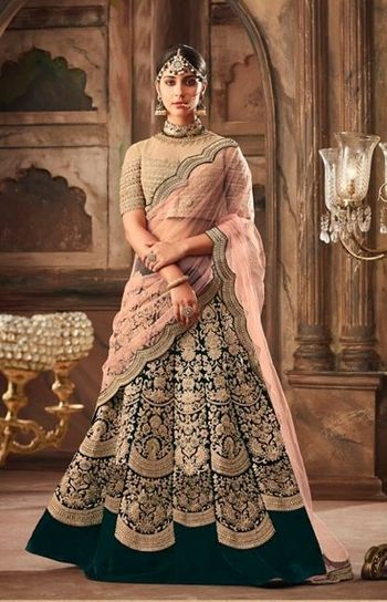 Pretty dark green and pink lehenga for an Indian wedding