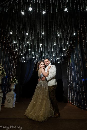 Photo of Sangeet photo with sparkly theme and decor