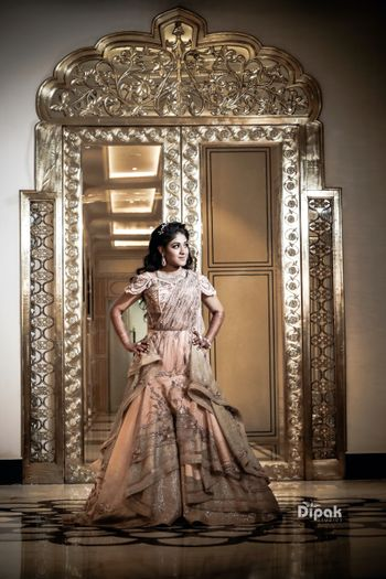Indo western peach gown for sangeet