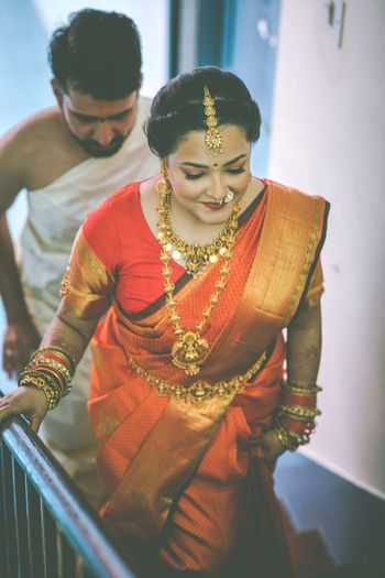 Bride in Orange kanjeevaram
