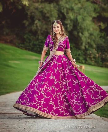 Photo of Purple aubergine mehendi lehenga Sabyasachi