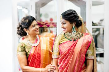 South Indian bridal look with mother