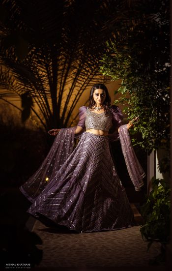 Modern engagement lehenga with chevron work