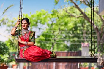A south Indian bride in a Kanjeevaram