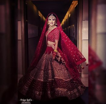 Red sequin bridal lehenga