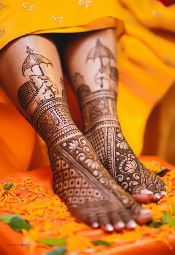 Feet mehendi design for a bride to be