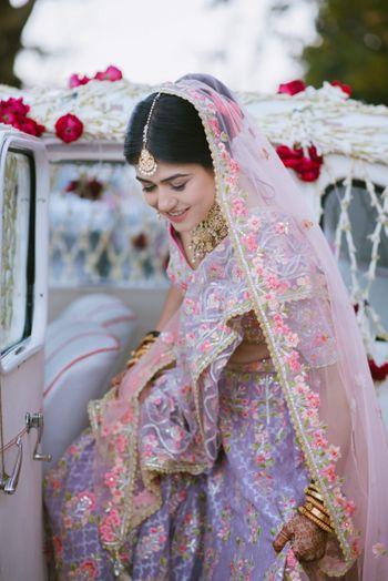 Photo of Offbeat unique bridal lehenga in lilac
