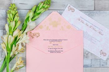 Photo of pink wedding cards