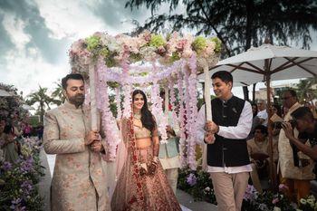 Photo of Bridal entry with phoolon ki chadar