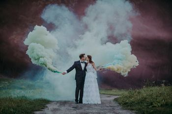 Smoke stick prop for post wedding shoot